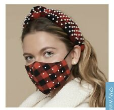 Lele Sadoughi Face Mask - Red Black Buffalo Check w/Pearls Brand New