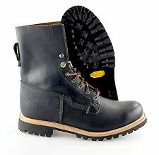 R - Men's TIMBERLAND 'Lineman' Black Plain Toe Leather Boots Size US 10 - D