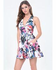 BEBE Womens Medium Deep V Fit & Flare Scuba Floral Print Dress NEW msrp $129