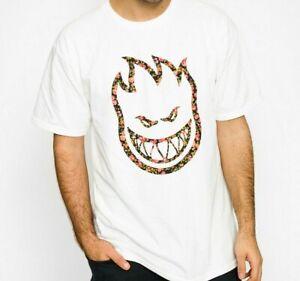 SPITFIRE WHEELS - Skateboard Tee Shirt - Large / White -  Floral