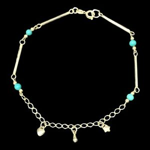 """sterling silver turquoise Beads With Charms anklet/bracelet 9.5"""""""