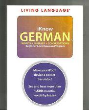 iKNOW GERMAN: Living Language Staff (2008, IPOD,PC, MAC) IPhone: 1500 Phrases