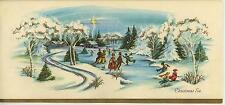 VINTAGE CHRISTMAS VILLAGE SNOW VICTORIAN ICE SKATING 1 BELGIAN HORSE WREATH CARD