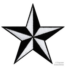 NAUTICAL STAR PATCH iron-on embroidered BLACK WHITE NAVY SAILOR TATTOO SYMBOL