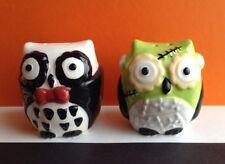 """Ceramic Halloween """"Frankenstein & Dracula"""" Owl Salt & Pepper Shakers (New)"""