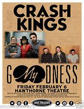 CRASH KINGS/MY GOODNESS 2015 PORTLAND CONCERT TOUR POSTER-Alternative Rock Music