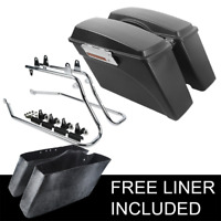 Painted SaddleBags & Chrome Conversion Bracket For Harley Softail Fatboy 84-13