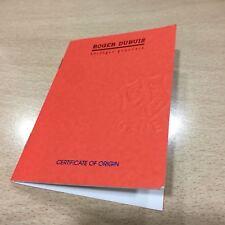 Roger Dubuis Certificate of guarantee