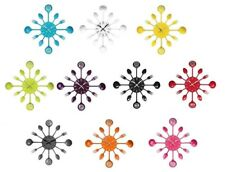 Kitchen Cutlery Design Wall Clock Stylish Funky Colours Brand New