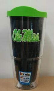 Tervis Tumbler Ole Miss Rebels Logo Emblem 24oz with Neon Lid Quartz New