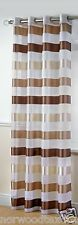 Stirling / Sterling Stripes Voile Eyelet Curtain Panel Unlined Woven Voile Net