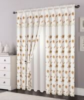2 Layers Voile Sheer Embroidered Rod Pocket Window Curtain Panel and Valance