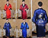 Handsome Double-face Chinese silk Men's Robe Gown bathrobe Sz: M L XL XXL 3XL
