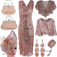 Vintage Roaring Gatsby 1920s Flapper Wedding Party Layered Tassel Cocktail Dress