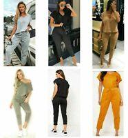 Women's Ladies Short Sleeve V Neck Boxy Tracksuit Loungewear Comfy 2PCS Suit Set
