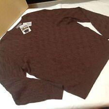 Daniel Cremieux Men Luxury Cable Sweater V-Neck Alpaca Brown XXL $150 New