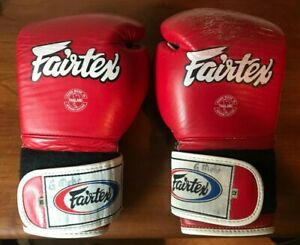 Fairtex Red Leather Boxing Gloves 12oz Used
