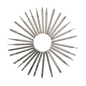 30 Pcs DIAMOND BURR ROTARY TOOL BIT SET Dremel Engraving Tiles Stone Glass Wood
