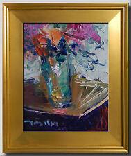 JOSE TRUJILLO FRAMED IMPRESSIONISM PLEIN AIR OIL PAINTING FLOWERS VASE LOT 0034