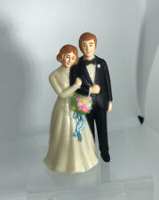 "Vintage Caucasian Bride & Groom Wedding Cake Topper Couple 4.5"" IVORY Version"