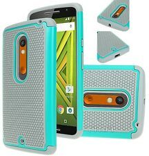 Fits Motorola Moto X Play Case Rugged Impact Hybrid Shockproof Cover Skin - Teal