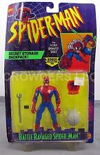 Spiderman Battle Ravaged from Animated Series (95) Secret Storage Backpack & Pin