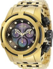 Invicta Mens 52mm Bolt Zeus Quartz Chrono Black Mother-of-Pearl Dial SS Watch