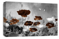 Le Reve Floral Wall Art Grey Brown White Canvas Poppy Flowers Abstract Panel