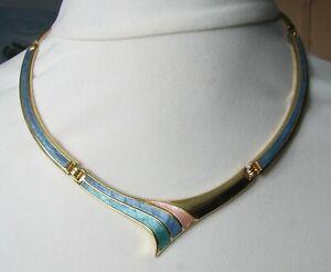 Vintage Blue Green Pink Enamel Collar Necklace 1980s