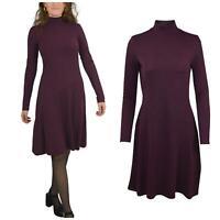 WAREHOUSE Berry Burgundy Funnel Neck Jersey Dress Long Sleeve