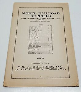 Model Railroad Supplies Wm. K. Walthers Catalog Pamphlet Booklet O HO Parts USA