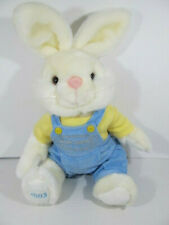 """Trump Marina Hotel 2003 Easter Bunny Plush Blue Overalls 14"""" Removable Clothes"""