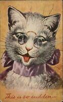 Arthur Thiele - Cat Wearing Eyeglasses THIS IS SO SUDDEN c1910 Postcard