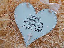 Christening Baptism Heart Hanger Gift Keepsake Any Colour
