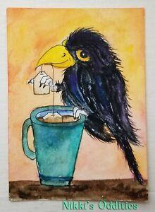 Aceo Black Bird Crow Tea Coffee Cup Original Watercolour Painting Nikki NFAC