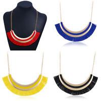 Fashion Women Pendant Bib Tassel Choker Chunky Chain Statement Necklace Jewelry