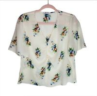 Madewell Cream Blue Floral Top 100% Silk Shirred Front Short Sleeve V Neck Sz M