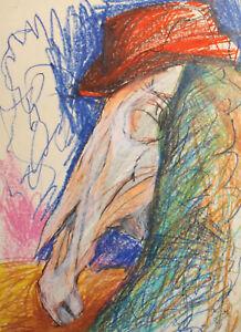 Vintage pastel painting abstract surrealist portrait