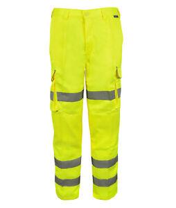Hi Vis Hi Visibility Professional Combat Trouser - Hi Viz Yellow - PCYCT3R