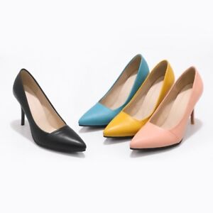 Womens Party Shoes Synthetic Leather High Heels Pointed Toes Pumps AU Size S715