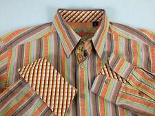 Robert Graham Men Dress Shirt Men Medium Orange Multi-Color Stripes- VGC