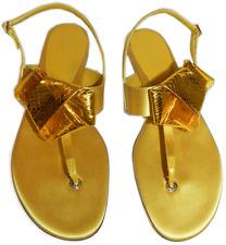 $475 BURBERRY Prorsum Yellow Satin Leather Flat Thong Sandal Shoe 40- 9
