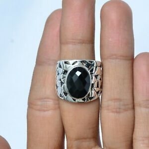 Anniversary Gift For Her Black Onyx Gemstone Ring Size 7 Silver Jewelry KB16451