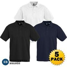 5 x Mens Ice Polo Shirt Top 100% Cotton White Black Navy Plain Size S-5XL P112MS
