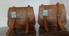 Motorcycle Side Pouch Brown Leather Side 2 BagsPouch Saddlebags Panniers Saddle