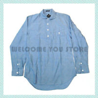 EWD Men's Casual Popover Shirts Soft Washed Spread Collar Chambray Light Blue