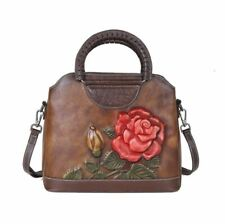 Women Genuine Cow Leather Messenger Shoulder Bag Handbag Flower Tote Travel S
