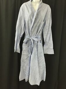 NEW Dressing Robe Striped Seersucker SDS No. 2 Large w/Tie Dowling Textile