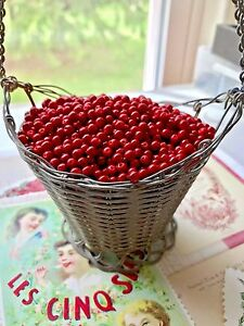 Vintage Cranberry Beads,Red 4mm Beads,Tiny Cranberries NOS Rare Spacers #1702