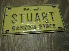 Vintage New Jersey Garden State Mini Bike Stuart Vanity Name License Plate Sign